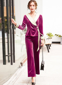 Color-blocked V-neck Bowknot Palazzo Pant Suits