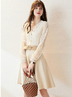 Openwork Lace Patchwork Suede A Line Skirt Suits