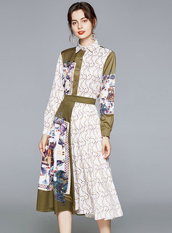 Color-blocked Print A Line Skirt Suits