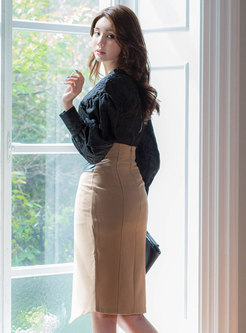 Puff Sleeve Pullover Sheath Skirt Suits
