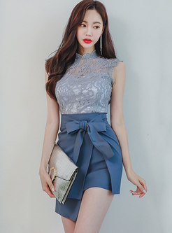 Lace Openwork Slim Top & Sheath Mini Skirt