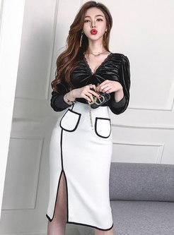 V-neck Ruched High Waisted Split Skirt Suits