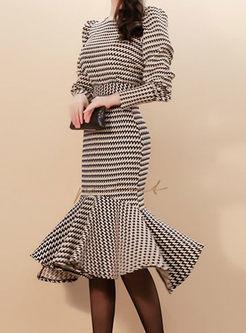 Long Sleeve Houndstooth Bodycon Peplum Skirt Suits