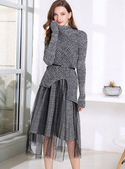 Turtleneck Asymmetric Sweater Mesh Suit Dress
