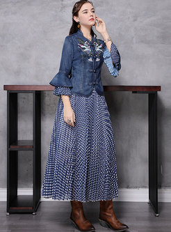 Embroidered Denim Falbala Polka Dot Suit Dress