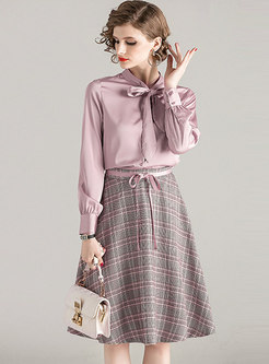 Mock Neck Slim Plaid A Line Suit Dress