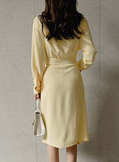 Solid Color Single-breasted Ruffle Skirt Suits