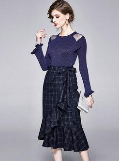 Mesh Patchwork Plaid Peplum Two Piece Dress