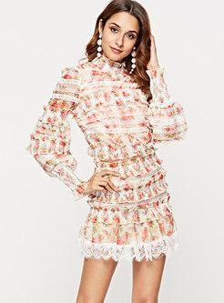 Print Ruffle Collar Top & High Waisted Layered Skirt