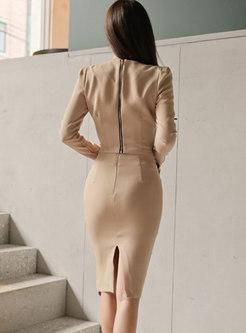V-neck Long Sleeve Top & Asymmetric Sheath Skirt