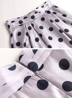 Polka Dot Puff Sleeve Midi Skirt Suits