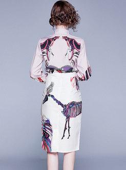 Elegant Print Lapel Bodycon Suit Dress