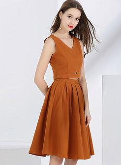 Casual V-neck Sleeveless Top & A Line Skirt