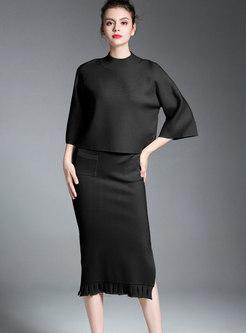 Black Mock Neck Half Sleeve Top & Sheath Split Skirt