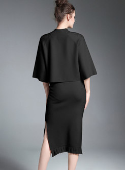 Black Mock Neck Half Sleeve Top & Sheath Split Skirt