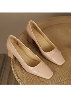 Square Neck Low-fronted Chunky Heel Shoes