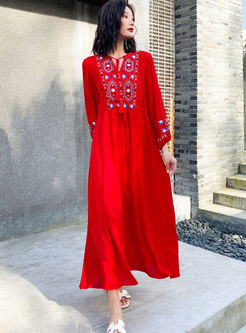Bohemian Embroidered Big Hem Beach Maxi Dress