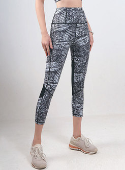High Waisted Mesh Patchwork Cropped Yoga Pants