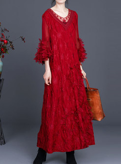 V-neck Long Sleeve Ruched Shift Maxi Dress