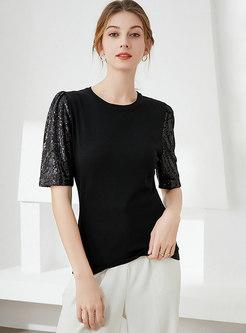 Crew Neck Pullover Sequin Slim T-shirt