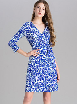 3/4 Sleeve Print High Waisted Wrap Dress