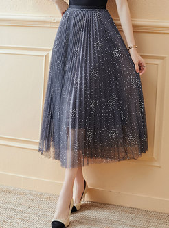 Mesh Patchwork Pleated A Line Maxi Skirt