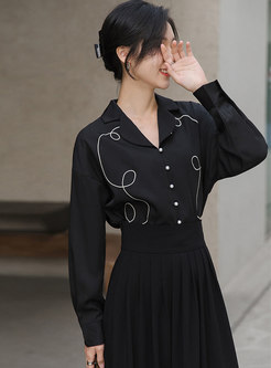 Notched Embroidered Long Sleeve Shirt