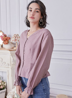 V-neck Single-breasted Ruffle Solid Blouse