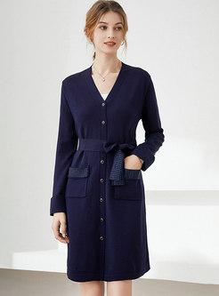 Long Sleeve Drilled Knee-length Sweater Dress
