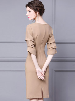 3/4 Sleeve Ruched Knee-length Bodycon Dress