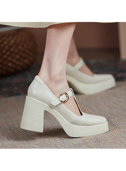 Square Toe Low-fronted Block Heel Shoes