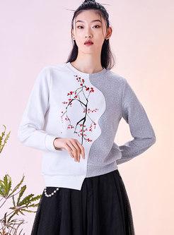 Casual Asymmetric Print Pullover Sweatshirt