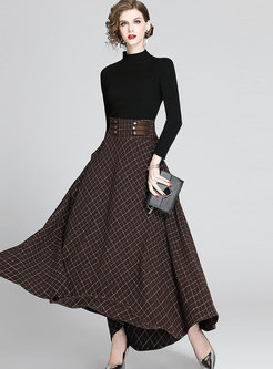 Long Sleeve Knitted Plaid A Line Suit Dress