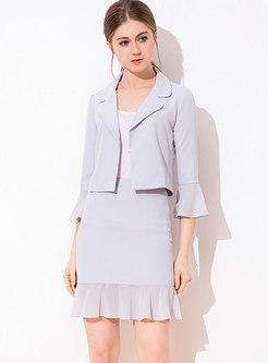 Work Flare Sleeve Ruffle Mini Skirt Suits