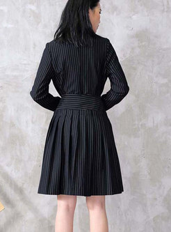 Long Sleeve Striped Blazer & High Waisted Asymmetric Skirt