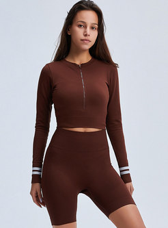 Crew Neck Color-blocked Tight Yoga Tracksuit