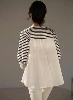 Crew Neck Striped Patchwork Pullover T-shirt