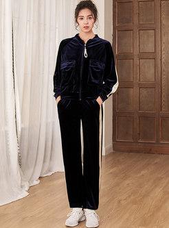 Color-blocked Velvet Flap Pocket Pant Suits