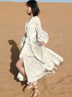 Bohemian Polka Dot Big Hem Beach Maxi Dress