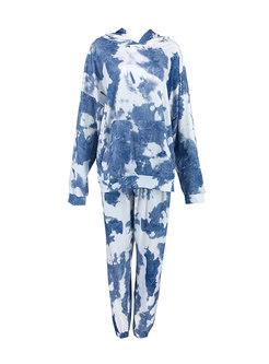 Long Sleeve Tie Dye Pant Suits