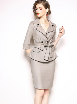 Work Notched Collar Double-breasted Skirt Suits
