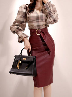 V-neck Plaid PU Bodycon Skirt Suits