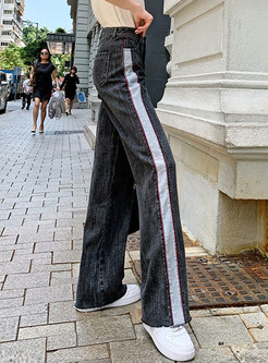 High Waisted Color-blocked Patchwork Jeans