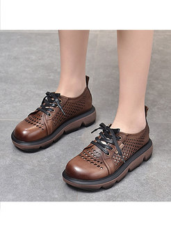 Rounded Toe Openwork Lace-up Platform Shoes