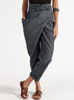 High Waisted Asymmetric Harem Pants