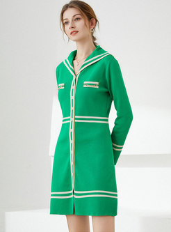 Color-blocked Long Sleeve Knitted Sheath Dress