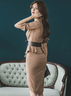 V-neck Ruffle Patchwork Bodycon Dress