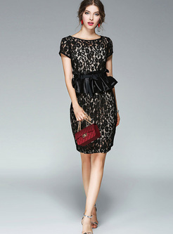 Black Falbala Lace Openwork Bodycon Skirt Suits