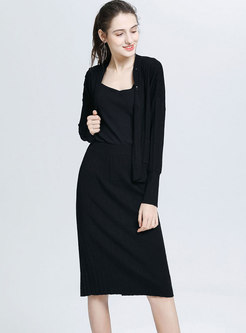 Solid Long Sleeve Sheath Knitted Suit Dress