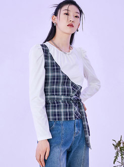 Crew Neck Pullover Plaid Patchwork T-shirt